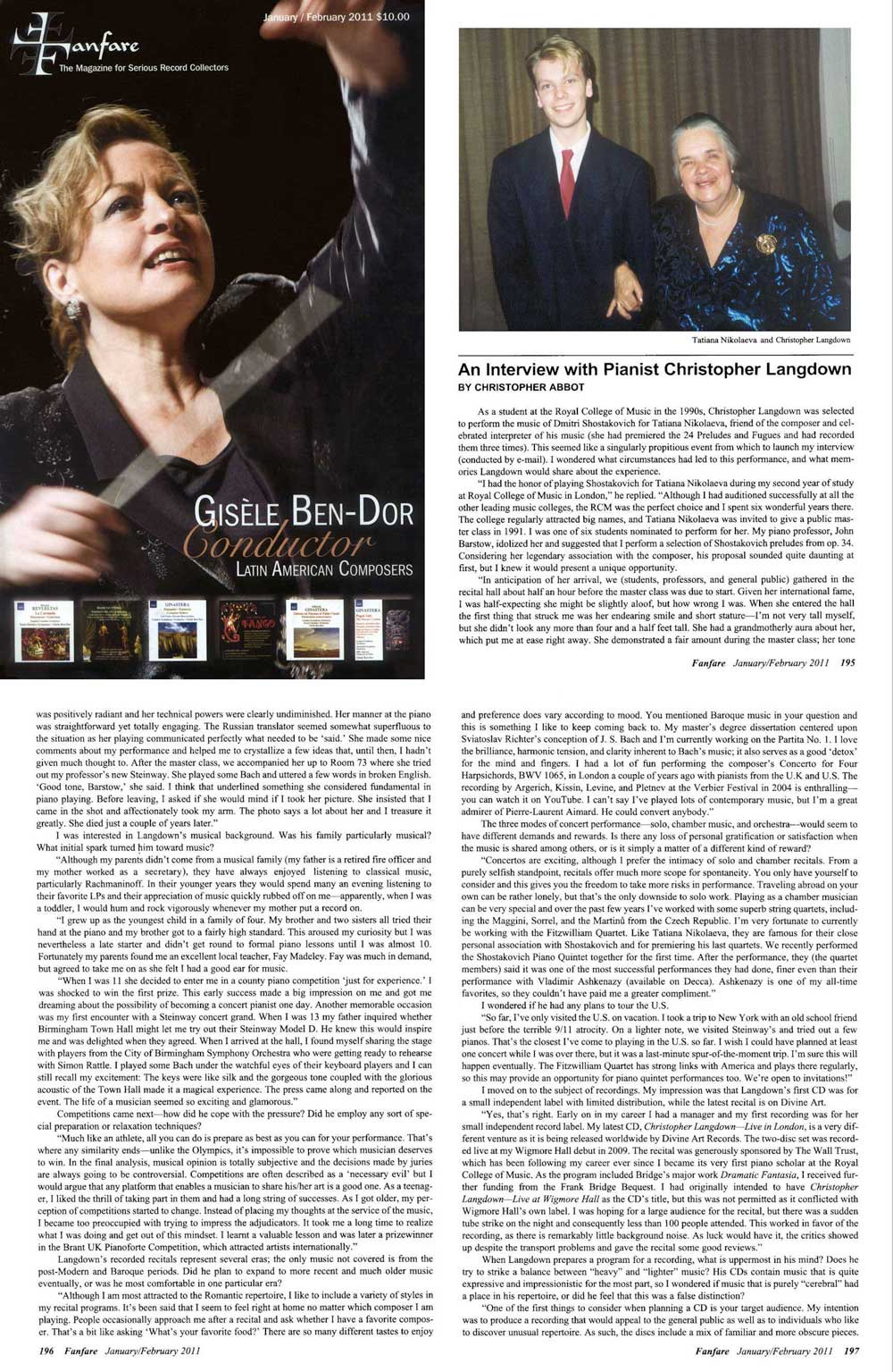 Fanfare Magazine USA Article